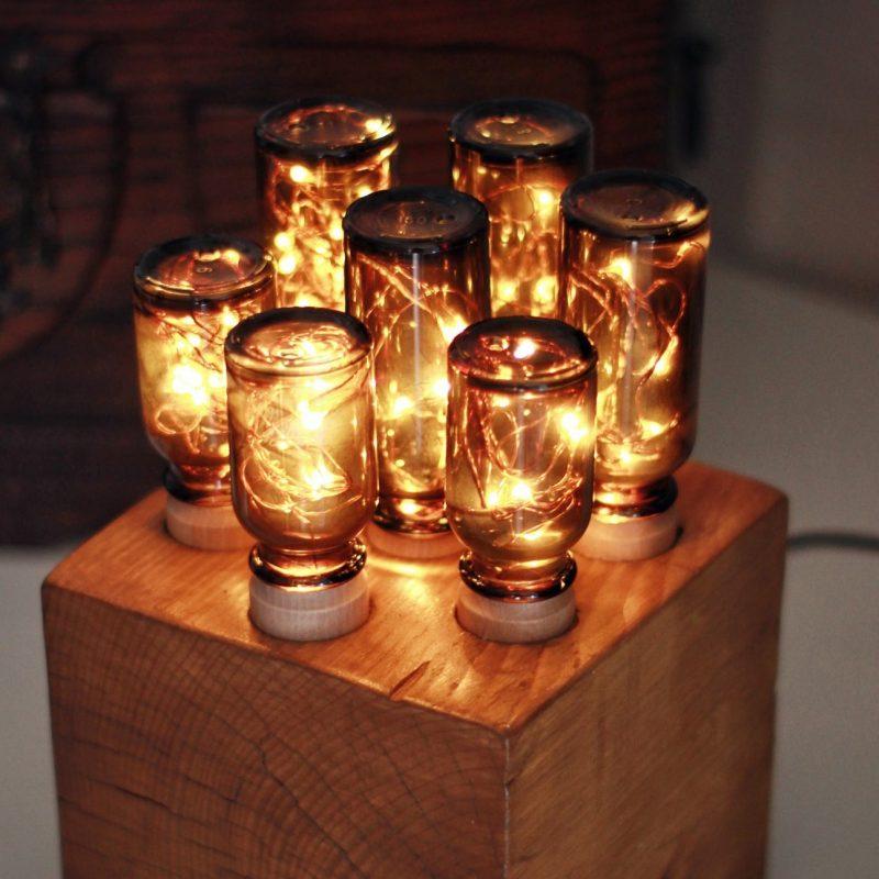 Lampadine di design – boccetti in vetro – cubo in legno – lampada di design | T001