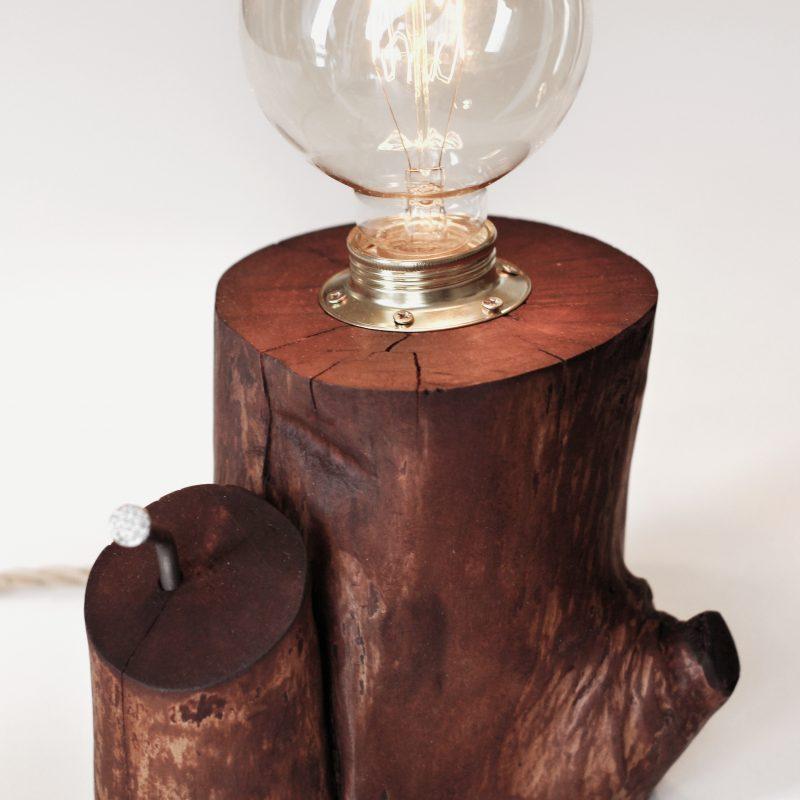 Lampada in legno – legno naturale – touch – lampade design parma | T019