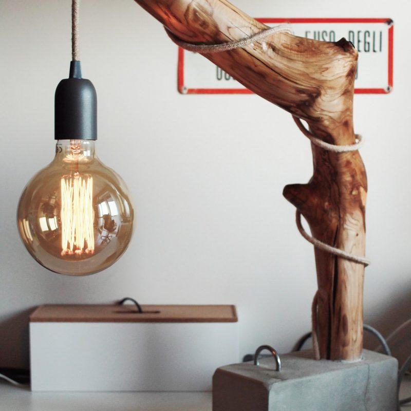 Lampada di design – ramo di legno – cemento – dimmer touch | T003