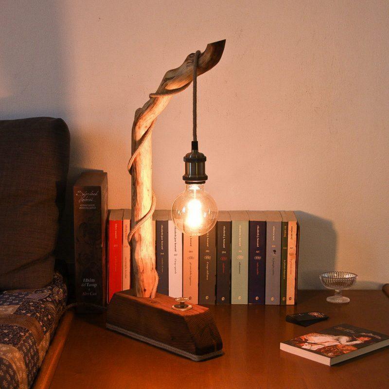 Lampada ramo di legno – ottone – lampade fatte a mano parma | T015