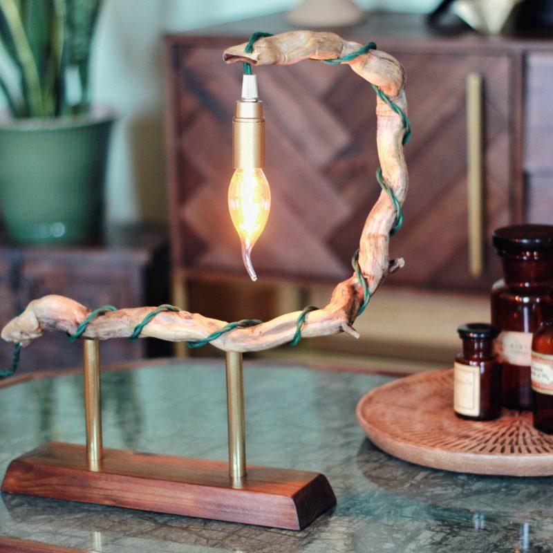 Lampada ramo legno – ottone – lampade design parma | T033