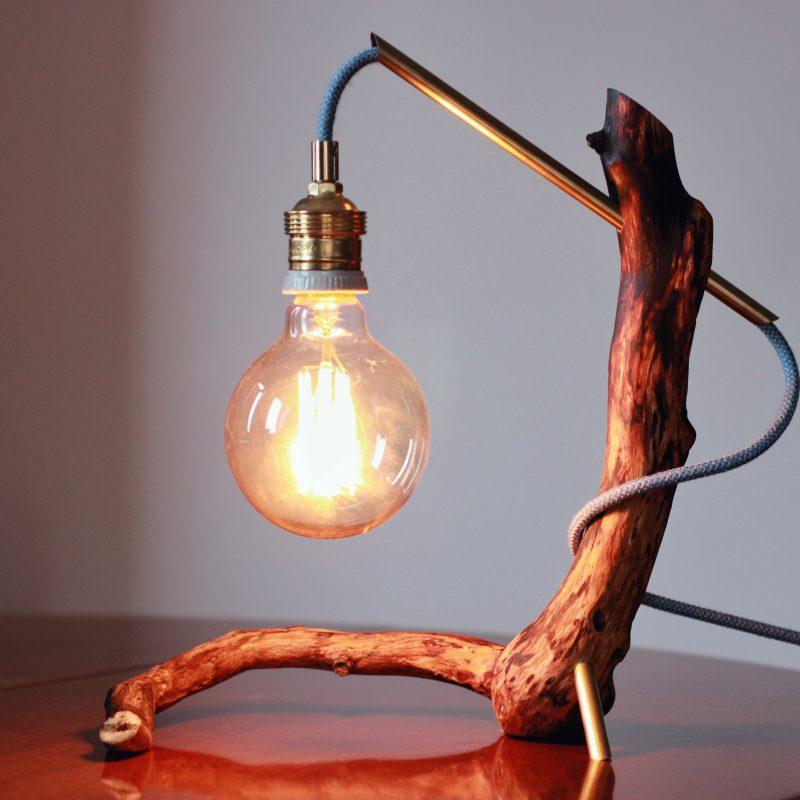 Lampada ramo legno – ottone – lampade design parma | T035