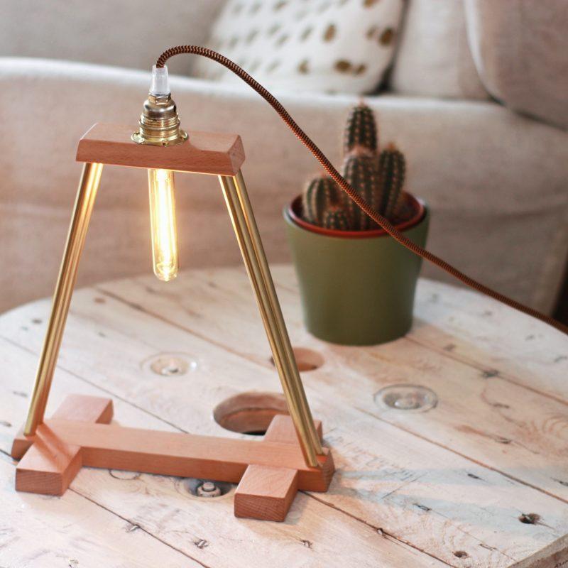 Lampada faggio – legno ottone – lampade design parma | T031